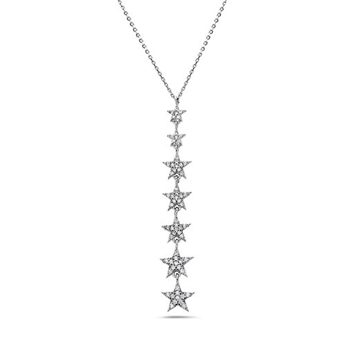 Crush & Fancy Dangling Pave Star Pendant Necklace | 925 Sterling Silver and German Crystal Trendy Ascending Star Fashion Necklace | Adjustable 16-18 inches | - Crystal Ascending