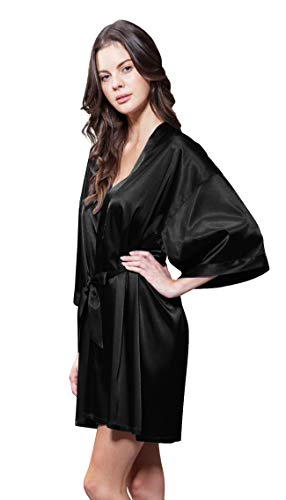 - Turquaz Linen Satin Kimono Bridesmaids Robe (Small/Medium, Black)