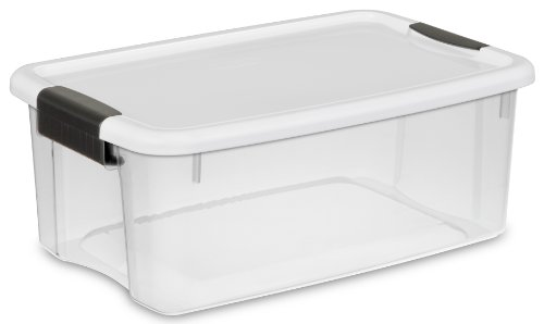sterilite-19849806-18-quart-17-liter-ultra-latch-box-clear-with-a-white-lid-and-black-latches-6-pack