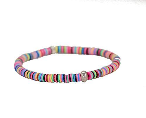 Rainbow Vinyl Disc Jigida Sterling Silver Stretch Bracelet