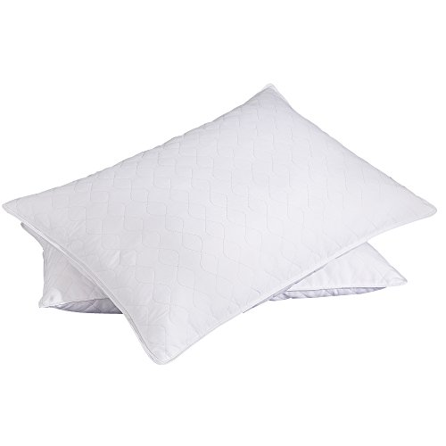 Puredown Quilted White Goose Feather And Down Pillow Set