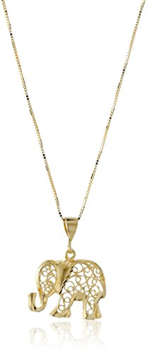 14k Yellow Gold Diamond-Cut Elephant Pendant Necklace, 18