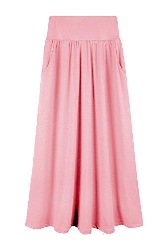 Bello Giovane Girls 7-16 Years Solid Maxi Skirt with Side Pockets (Medium, Pink)