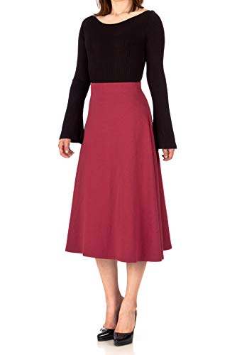 Dani's Choice Elastic Waist A-line Flared Long Skirt (S, Wine)