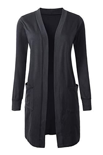 - Tribear Women's Long Sleeve Open Front Loose Causal Lightweight Kimono Cardigan (Large, New Black)