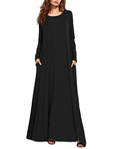 g Sleeve Casual Loose Pocket Kaftan Party Long Maxi Dress Black XL (Kaftan Long Sleeve)