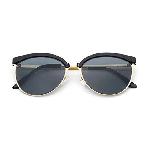 Z&YQ Sonnenbrille Schwarz Große Rahmen Katze Auge Reflektierende Mode Sonnenbrille , Gold Frame Gray Slice