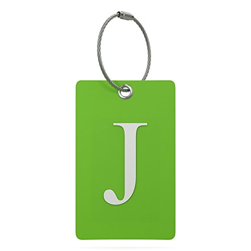 Durable Luggage Bag Tag - Luggage Tag Initial - Fully Bendable Tag w/ Stainless Steel Loop (Letter J)