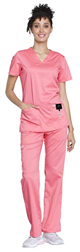 - Cherokee Workwear Revolution Women's Medical Uniforms Scrubs Set Bundle - WW620 V-Neck Scrub Top & WW110 Elastic Waist Scrub Pants & MS Badge Reel (Blushing Coral - Large/XL Petite)