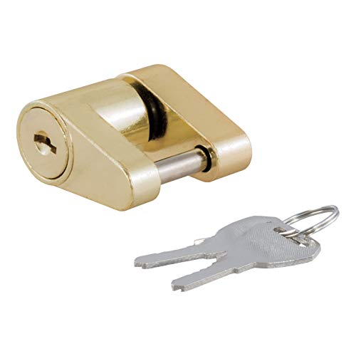 CURT 23022 Brass-Plated Steel Trailer Tongue Coupler Lock 2 Keys Included - Hitch Brass Lock