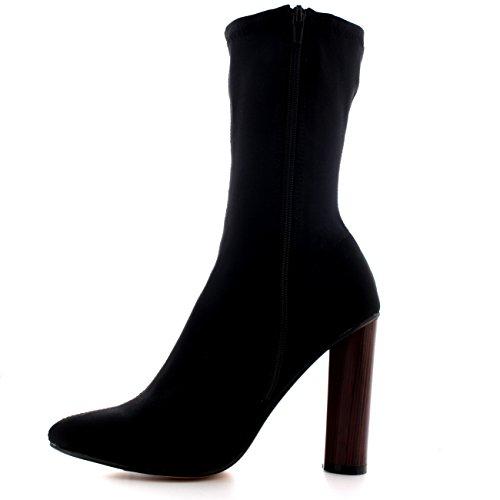 Vestir Dedo Mujer Puntiagudo Moda Negro Elegante Lycra Botines Talón Apilado nvW64S0