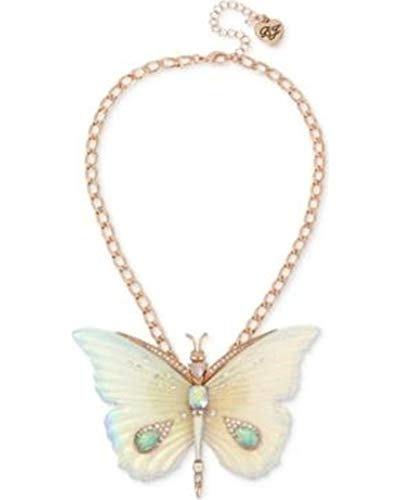 Betsey Johnson Large Butterfly Pendant Necklace, White, One Size