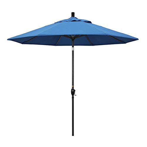 California Umbrella 9' Round Aluminum Market Umbrella, Crank Lift, Push Button Tilt, Black Pole, Pacifica Capri