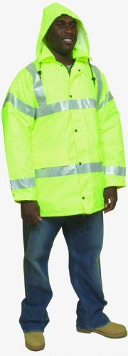 Mutual 16370 High Visibility Polyester ANSI Class 3 Winter Parka Safety Coat with Heavy Insulation and 2'' Silver Reflective Stripes, 2X-Large, Lime by Mutual Industries (Image #1)
