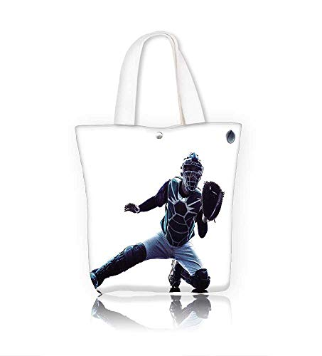 (canvas tote bagone caucasian man baseball player playing in studio silhouette isolated on white reusable canvas bag bulk for grocery,shopping W21.7xH14xD7 INCH)