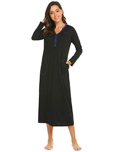 1c8425c8e1 Langle Women s Bathrobe Casual Nightgown Flare Sleeve Solid Soft Wrap Long  Robe with Belt Sleepwear S