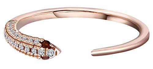 Snake Pave - Goldenstar 0.17Ct.White Diamond Ring, 10k Rose Gold Snake Ring, Size 6