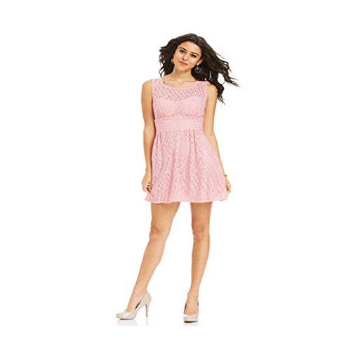 B. Darlin Womens Juniors Lace Illusion Party Dress Pink 9/10