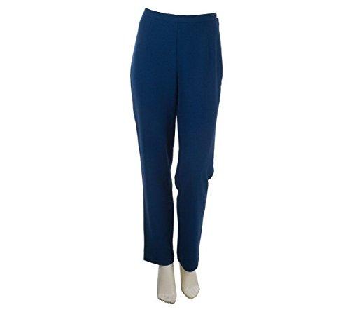 Bob Mackie Straight Leg Crepe Pants Elastic Waist A221778, Navy, (Crepe Straight Leg Pants)