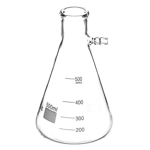 StonyLab Glass 500ml Heavy Wall Borosilicate Glass Filtering Flask, Bolt Neck with Tubulation - 500ml (Heavy Wall Filtering Flasks)