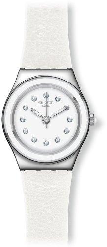 Swatch YSS277 - Reloj analógico de cuarzo para mujer con correa de piel, color blanco