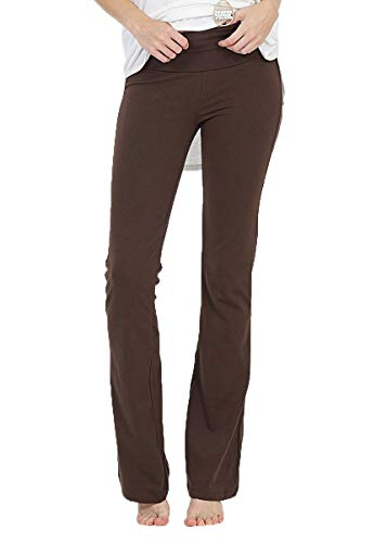 JNTOP Womens Cotton Fold Over Yoga Bootleg Flare Active Pants