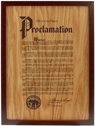 12 x 17 Walnut Framed Engraved Oak Proclamation Plaque by Gino's Awards Inc