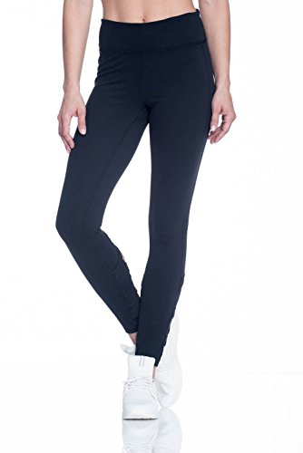 Gaiam Women's Om Yoga Full Length Legging With Open Crisscoss Detail Below Knee - Black Tap Shoe, X-Small