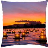 (Lanterns lit in the harbour of Waikiki Honolulu Hawaii in memory of the soldiers who lost t - Throw Pillow Cover Case (18)