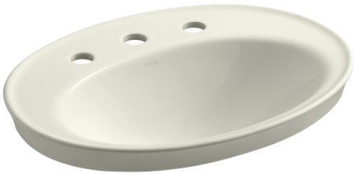 Kohler 2075-8-96 Vitreous china Drop-In Oval Bathroom Sink, 27 x 20.75 x 10.75 inches, Biscuit