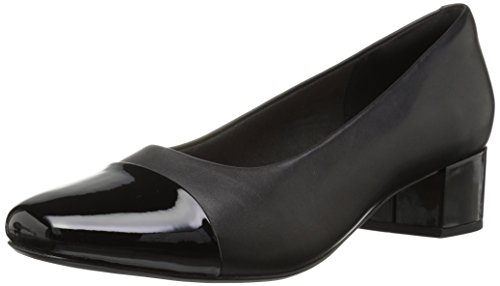 Synthetic Black Soft Leather - CLARKS Women's Chartli Diva Pump, Black Leather/Synthetic Combo, 080 W US