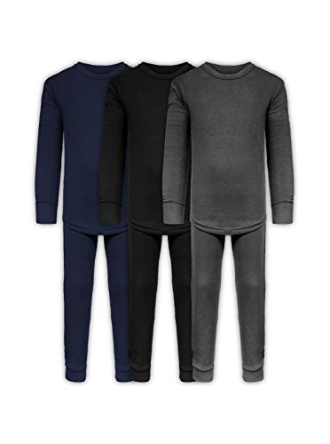 Boys Long John Ultra-Soft Cotton Stretch Base Layer Underwear Sets / 3 Long Sleeve Tops + 3 Long Pants - 6 Piece Mix & Match (3 Sets / 6 Pc - Black/Grey/Navy, 8/10) ()