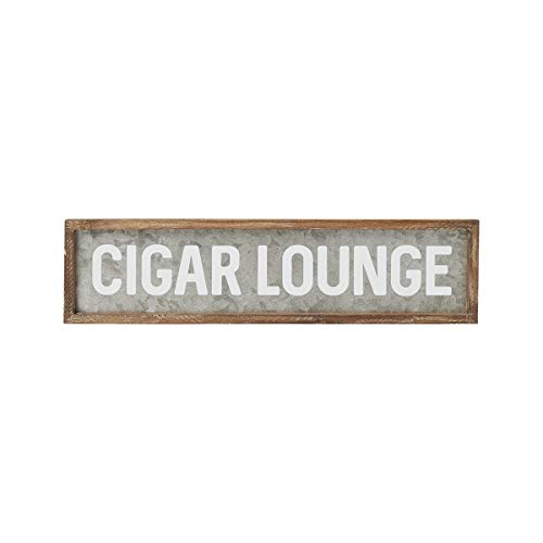 - Collins Fresh and Original - Cigar Lounge Galvanized Tin Sign, Wall Art or Sitter, 24 Inches Wide X 6 Inches Tall