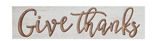 P. GRAHAM DUNN Give Thanks Script Whitewash 24 x 5.5 Solid Wood Carved Barnhouse Block Sign (Thanks Give Blocks)
