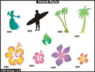 Airbrush Temporary Tattoo Stencil Template Set 114 Hula G...