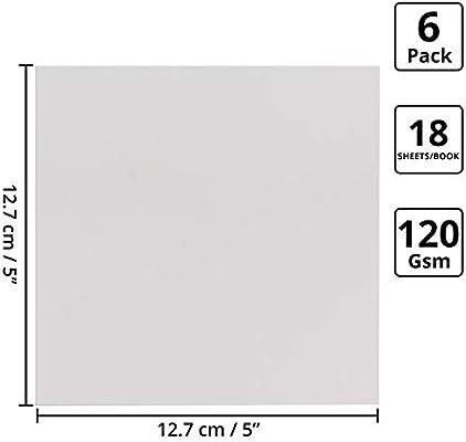 Libreta Dibujo (Pack de 6) - 120GSM Bloc de Dibujo sin Líneas (12,7x12,7cm) 18 Hojas (36 Páginas) Cuaderno Dibujo Cubierta Blanca Dura - Viaje, Estudiantes, Proyecto Escolar, Arte: Amazon.es: Hogar