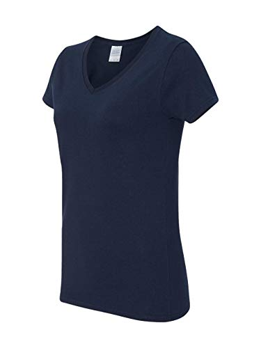 Gildan Heavy CottonTM Ladies' 5.3 oz. V-Neck T-Shirt, Medium, NAVY