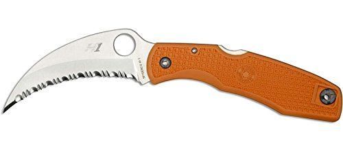 Spyderco SpyderHawk Salt 3.6 in Serrated Orange FRN Handle C77SOR by Spyderco