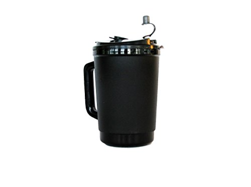 1 32 Ounce Black Insulated Mug, Lid Drink-Thru or Flip- Sip, 11 Inch Straw/Black Cap (Insulated Plastic Liner)