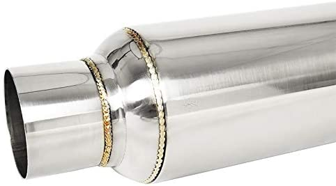 Stainless Steel 10 inch Glass Pack Muffler Resonator 2.5 inches In//Out Universal