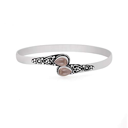 - Natural Pear Shape Smoky Quartz Silver Plated Handmade Fashion Cuff Bangle Jewelry