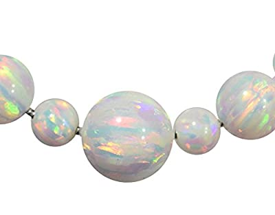 """Sterling Silver Created Opal Snake Necklace Round Beads Changeable 18"""" from uGems"""