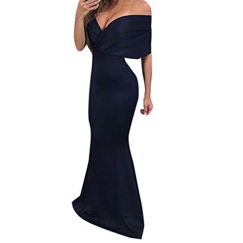 - Dressin Dress for Women, Women's Sexy Solid Deep V-Neck Floor-Length Sheath Trumpet Mermaid Dress Blue