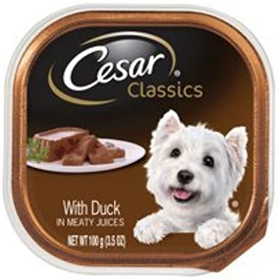 6 Individual Trays of CESAR Canine Cuisine Wet Dog Food with Duck, 3.5 oz. ea