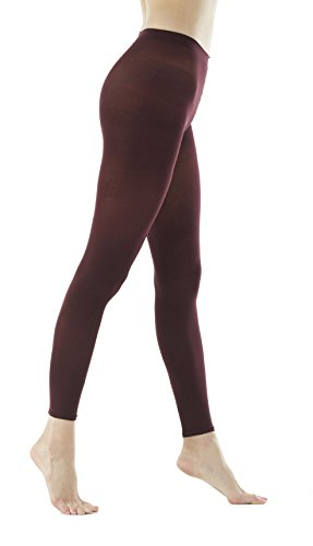 Women's 80Denier Semi Opaque Solid Color Footless Pantyhose Tights 2pair or 6pair (M/L, Maroon)