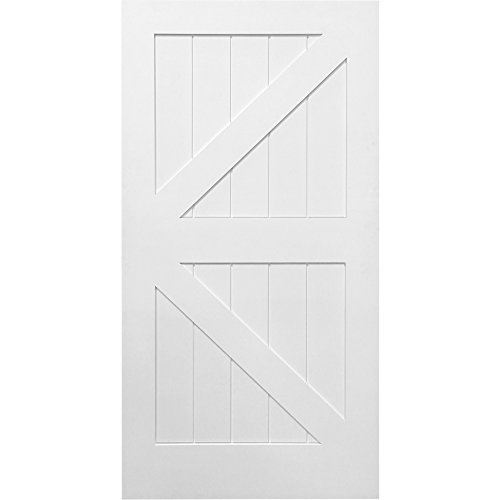 National Door Company Z028971 Solid Core MDF K-Bar Planked, Primed, 42'' x 84'', Barn Door Slab by National Door Company