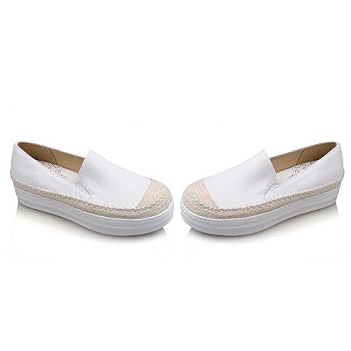 Damen Material Rein Pumps Allhqfashion Weiß Rund Weiches Zehe Absatz Schuhe Ziehen Mittler Auf