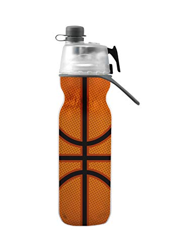 O2COOL HMCDP31 Insulated Water Bottle, Mist 'N Sip Sports Series, 20 oz, Basketball, 20 Ounce, ()
