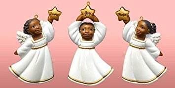African American Cherub Variety Christmas Ornament Set II (Set of 3)