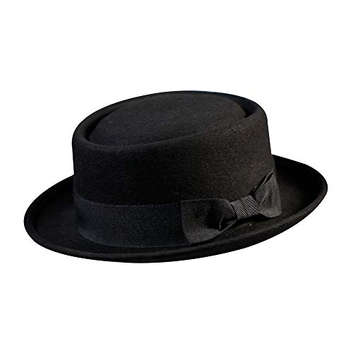 Pork Pie Hat-100% Wool Felt Men's Porkpie Hats Flat Mens Fedora Top Classic Bowknot Cap (M:7 1/8-22 3/8